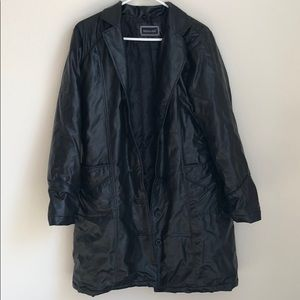 Comfy Leather Long Trench Coat, slightly puffy